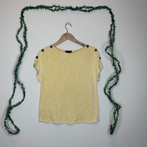 W5 Anthropologie Ribbed Yellow Button Tee Shirt